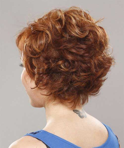 Nice Curly Pixie Hair for Over 40 Back View