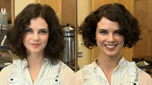 Brown Curly Short Hairstyles For Round Faces