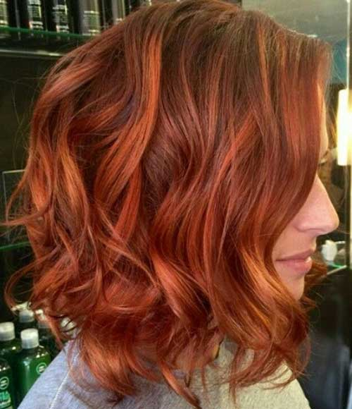 Curly Wavy Red Bob Hairstyles