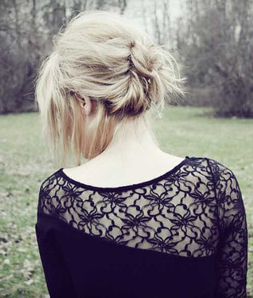 Cute Bun Back View for Short Hairstyles