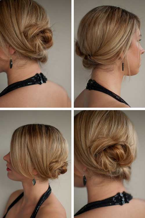 Cute Twisted Bun for Short Hairstyles