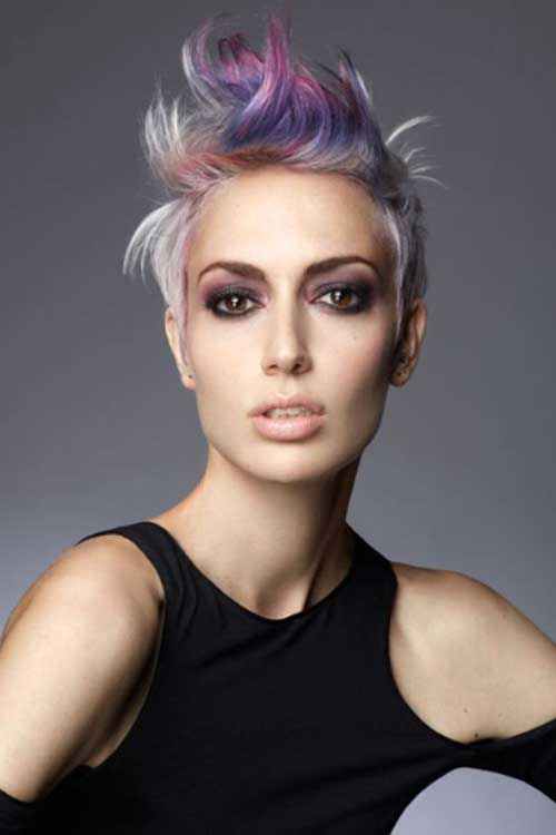 Funky Short Colored Pixie Haircuts