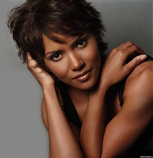 Halle Berry Dark Pixie Haircuts