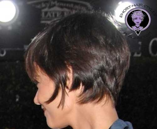 Katie Holmes Straight Style Pixie Hair Back View