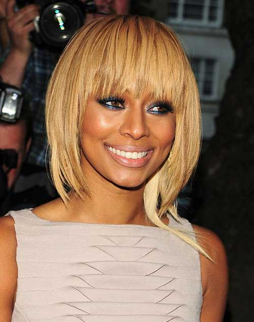 Keri Hilson Blonde Bob Hairstyles with Bangs