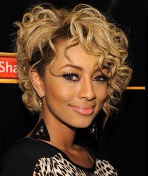 Keri Hilson Blonde Bob Hairstyles with Curls