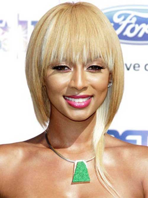 Keri Hilson Blonde Bob with Bangs Hairstyles