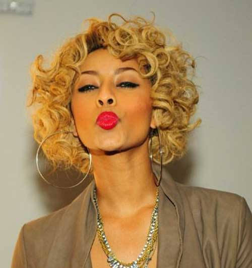 Keri Hilson Blonde Short Curly Bob Hair