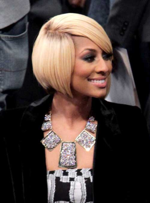 Keri Hilson Blonde Side Swept Bob Hairstyle