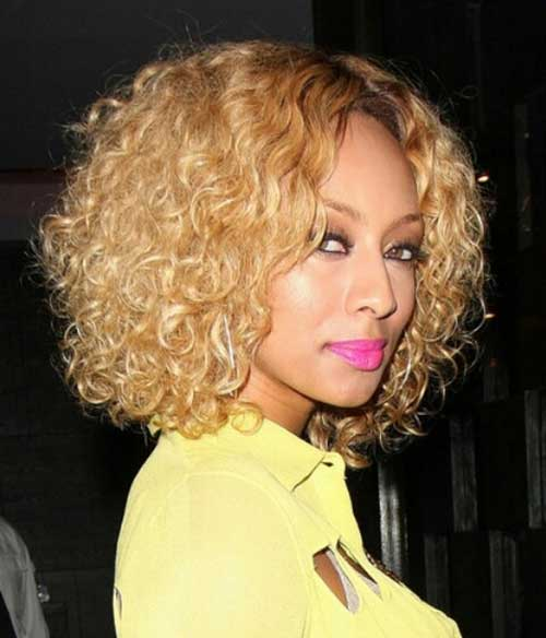 Keri Hilson Blonde Curly Bob Hairstyle