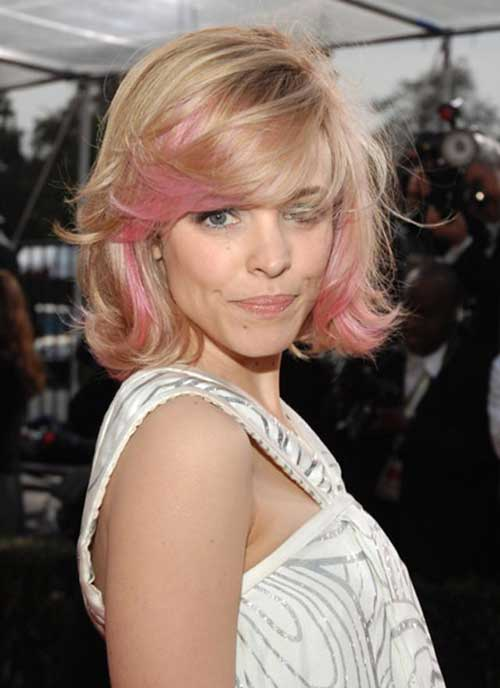 Layered Bob with Blonde Pink Color Hairrstyles