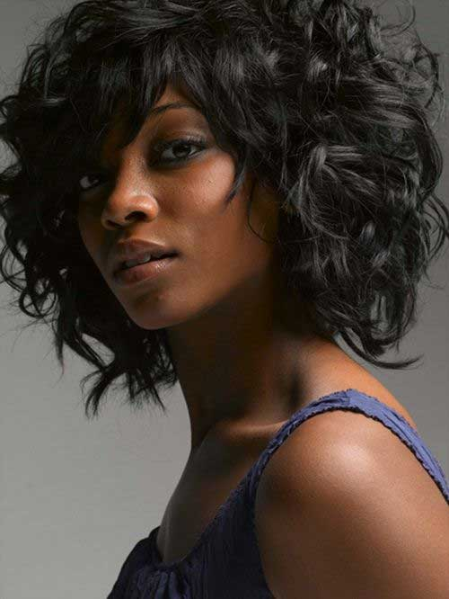 Layered Cute Curly Bob Hairstyles for Black Ladies