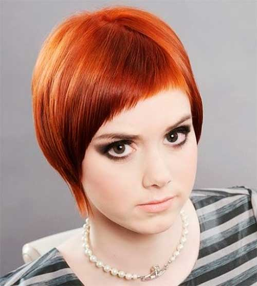 Layered Red Short Hair For Chubby Face