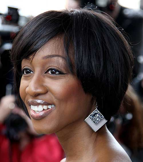 Layered Short Hair with Bangs for Black Women Over 40
