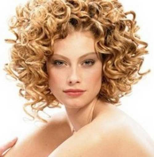Permed Blonde Curly Short Hair Style