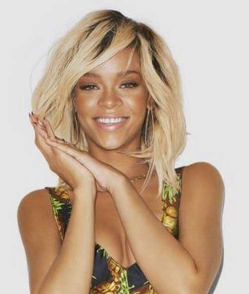 Rihanna Blonde Bob with Bangs Hairstyles