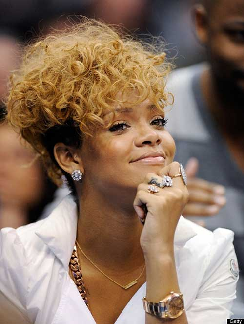 Rihanna Blonde Curly Haircut Style