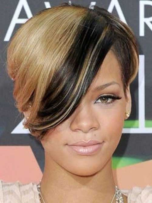Rihanna Blonde Hair Short Haircut