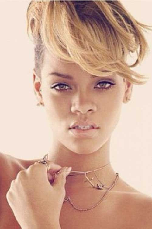 Rihanna Blonde Messy Long Pixie