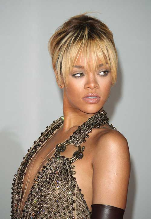 Rihanna Blonde Short Hairstyles with Bangs
