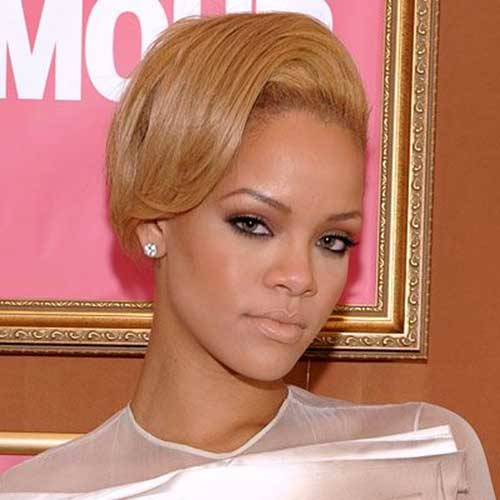 Rihanna Blonde Slicked Short Hairstyles