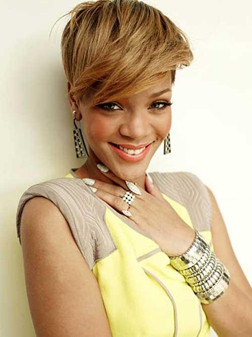 Rihanna Blonde Straight Pixie Hair Style
