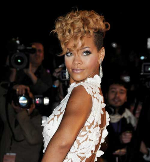 Rihanna Curly Blonde Pixie Hair