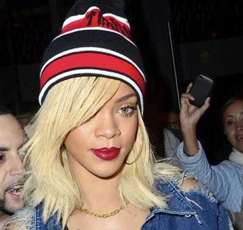 Rihanna Platinum Blonde Layered Short Hair