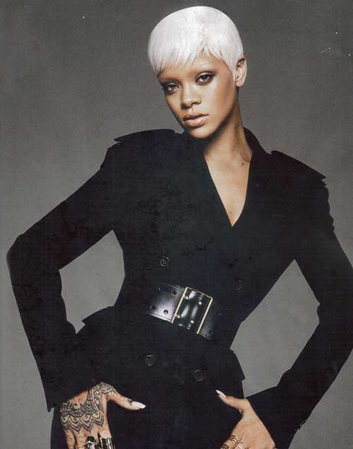 Rihanna Platinum Blonde Straight Hairstyles