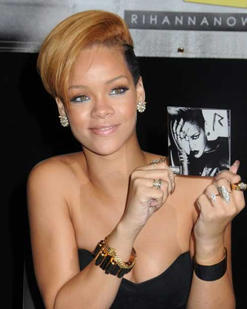 Rihanna Side Swept Blonde Pixie Shor Hair