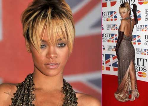 Rihanna Straight Blonde Pixie Haircut