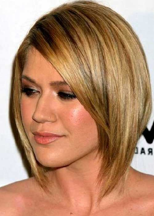 Round Face with Straight Short Bob Hairstyles