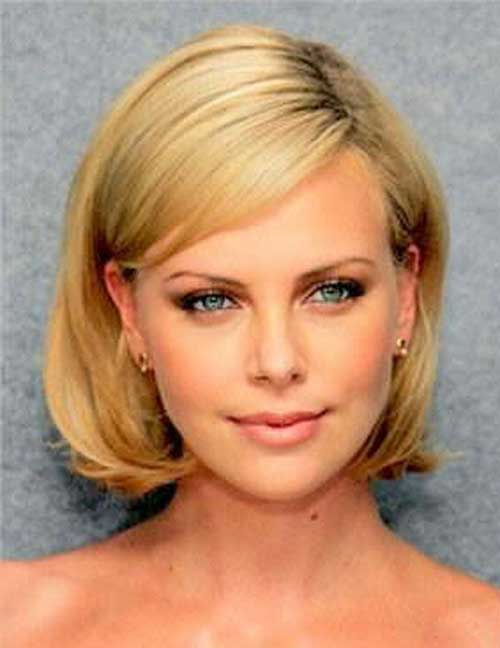 Round Face with Straight Short Hairstyles