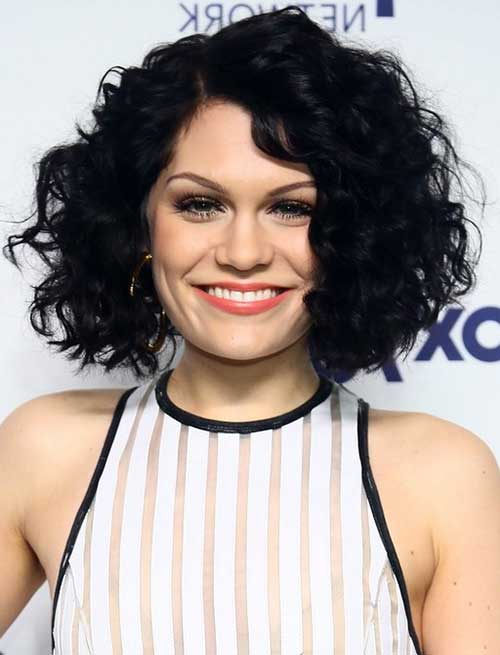 Round Faces Curly Black Colored Short Haircut