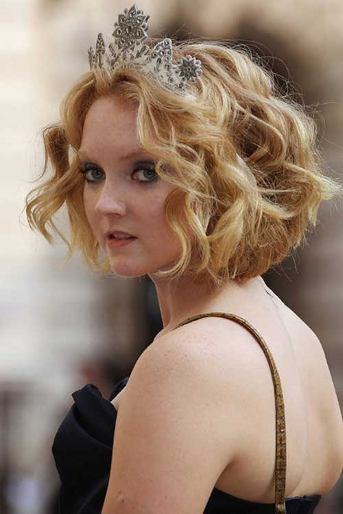Round Faces Curly Blonde Colored Short Haircut