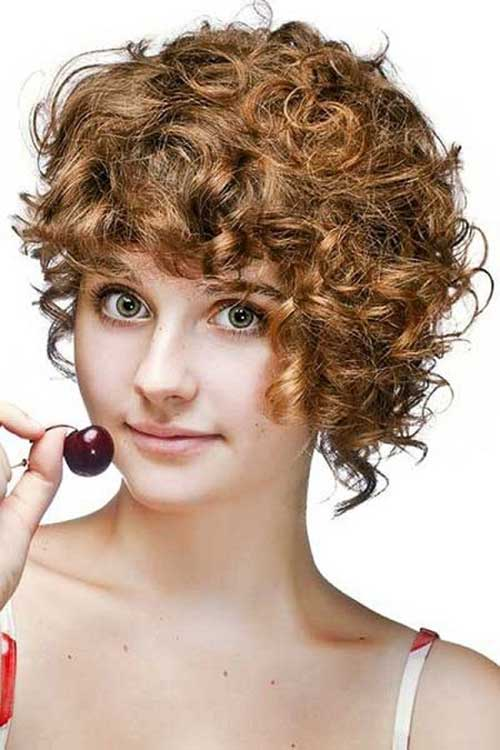 Round Faces Curly Ginger Short Haircut