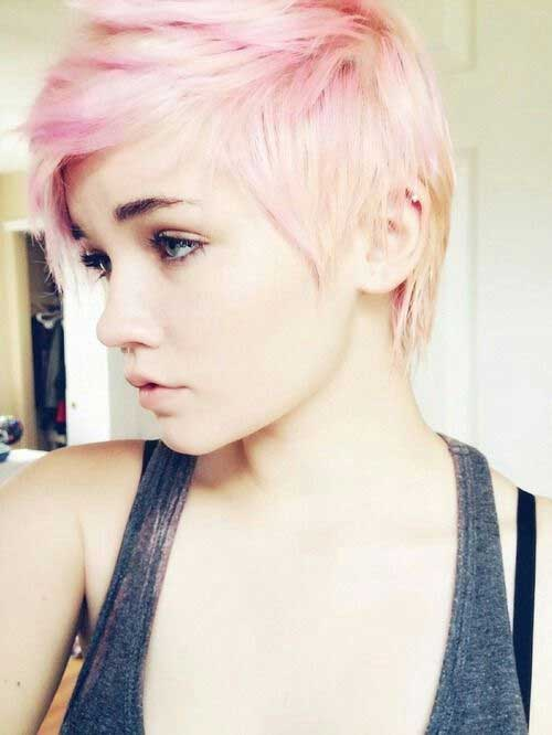 Short Blonde And Soft Pink Hairstyles