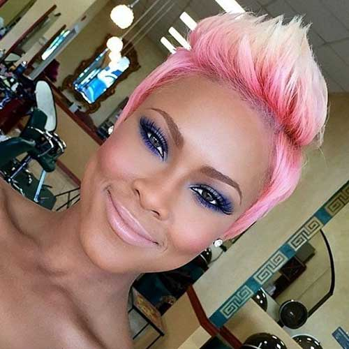 Short Blonde Hair With Pink Roots Highlights