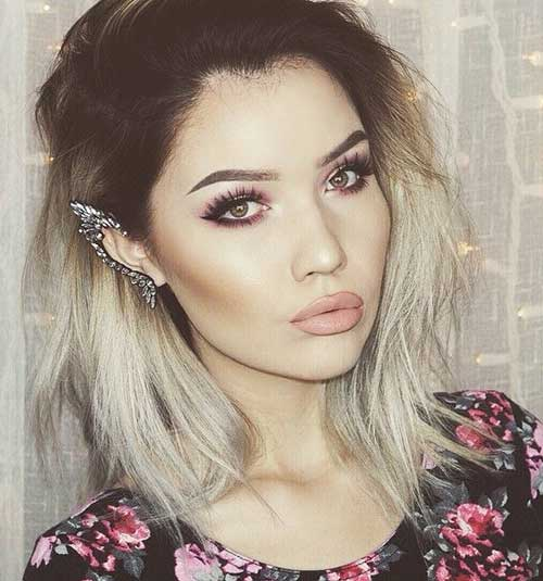 Short Blonde Ombre Hair with dark Roots