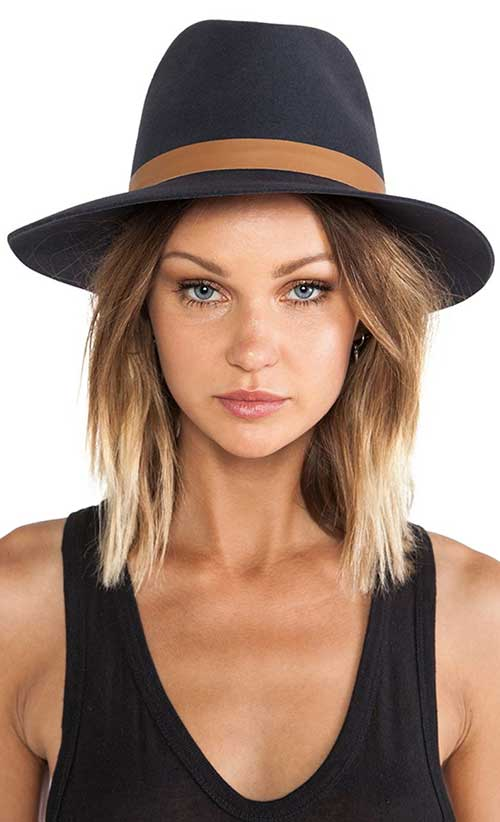 Short Blonde Ombre with Hat