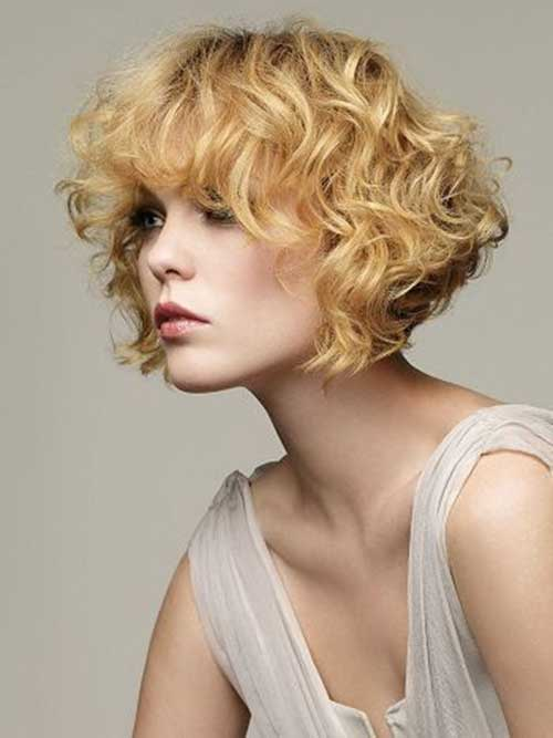 Short Curly Permed Hairstyles with Bangs