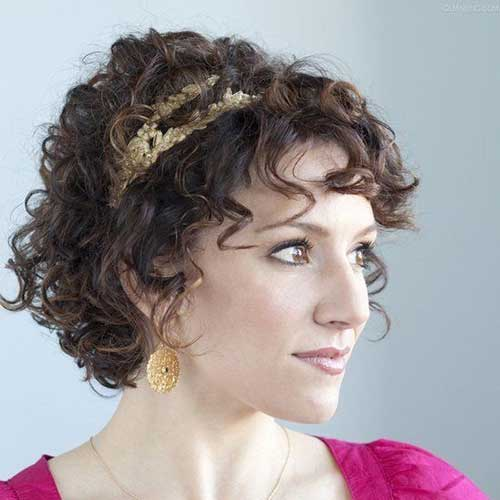 Short Curly Perms with Headband