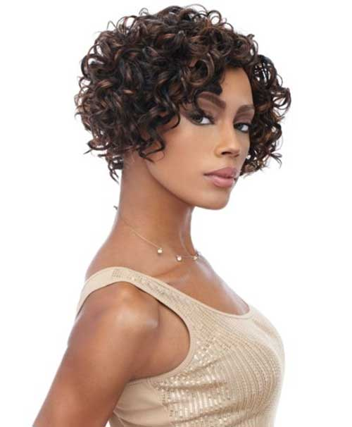 Short Curly Brown Weave