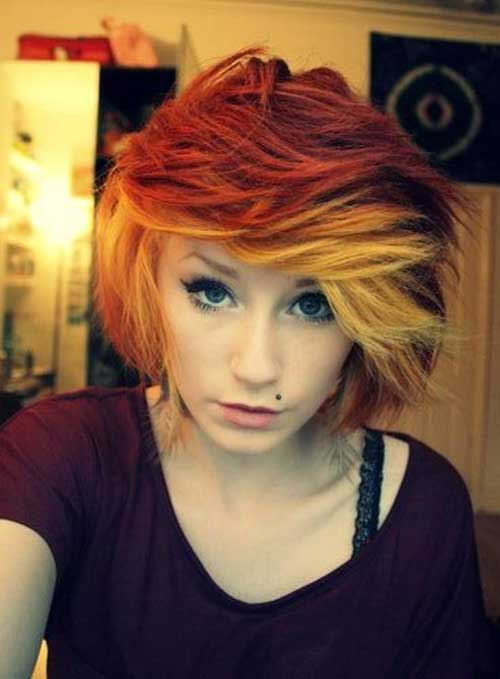 Short Cute Hairstyles for Thick Red Orange Bob Hair