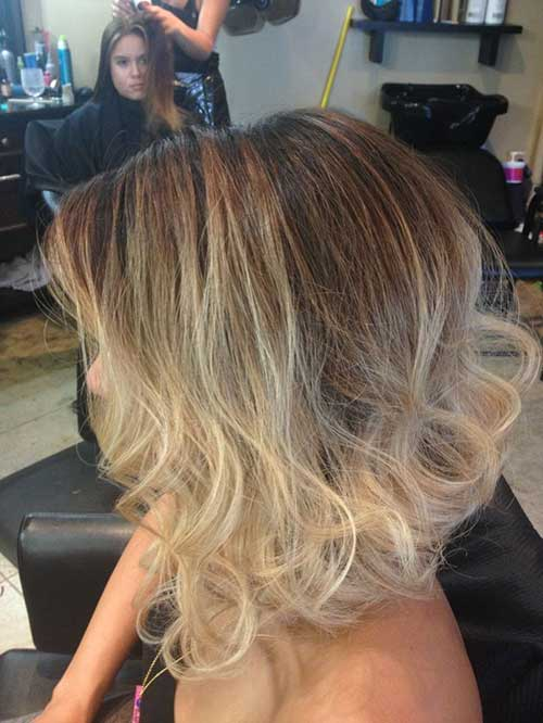 Short Hair Blonde Ombre Colored with Curly Ends