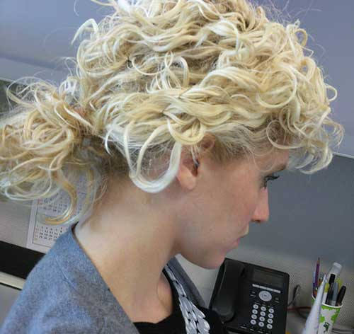 Short Haircut with Curly Ponytail Styles