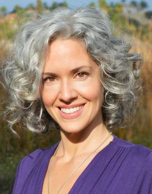 Short Hairstyles for Grey Curly Hair