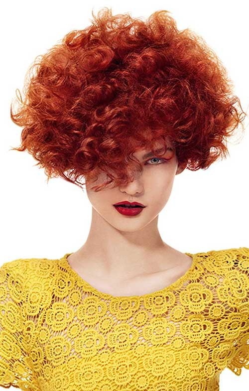 Short Red Colored Curly Hairstyles Perms