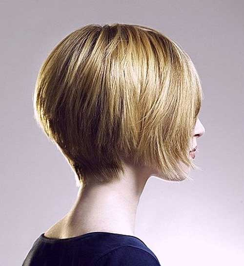Short Stacked Wedge Blonde Bob Haircut Back View