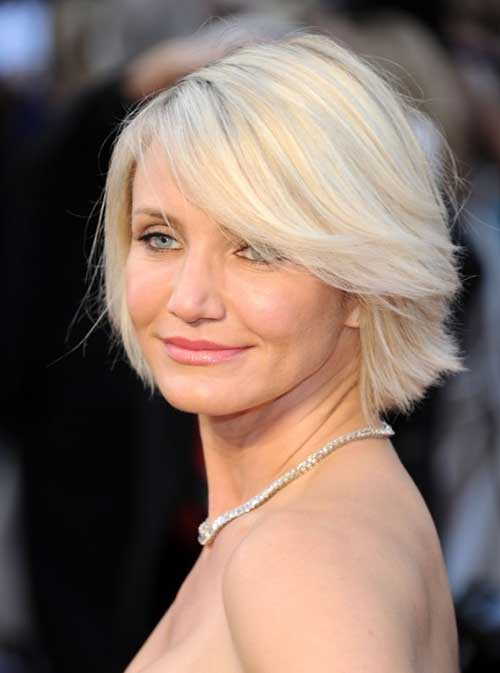 Short Stacked Wedge Blonde Hair Style